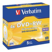 PACK5 DVD+RW VERBATIM 4X 4.7GB JEWELCASE
